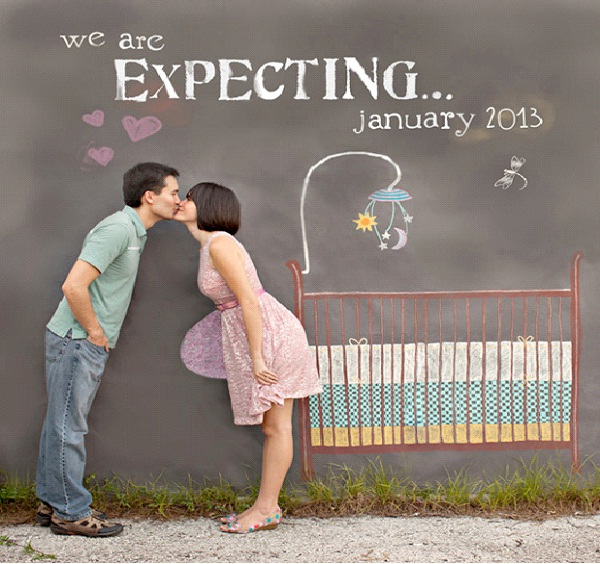 On The Wall-Creative Pregnancy Announcement Ideas