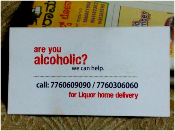 Help Alcoholics with Alcohol-Funniest Business Cards