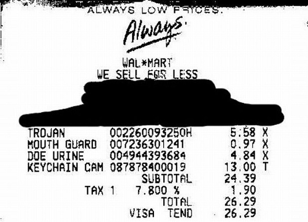 Walmart sells anything-Funniest Receipts Of All Time