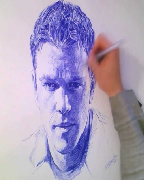 Matt Damon-Amazing Pen Drawings