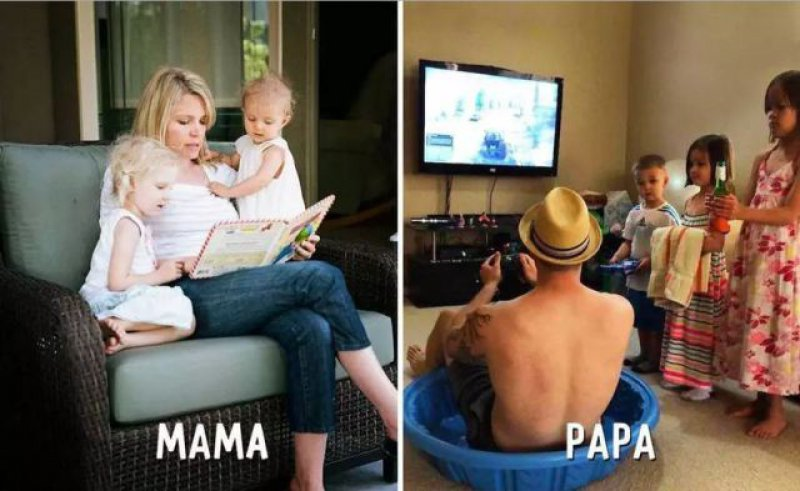 Spending Time with Kids - Mom vs. Dad-15 Hilarious Differences Between Mom And Dad
