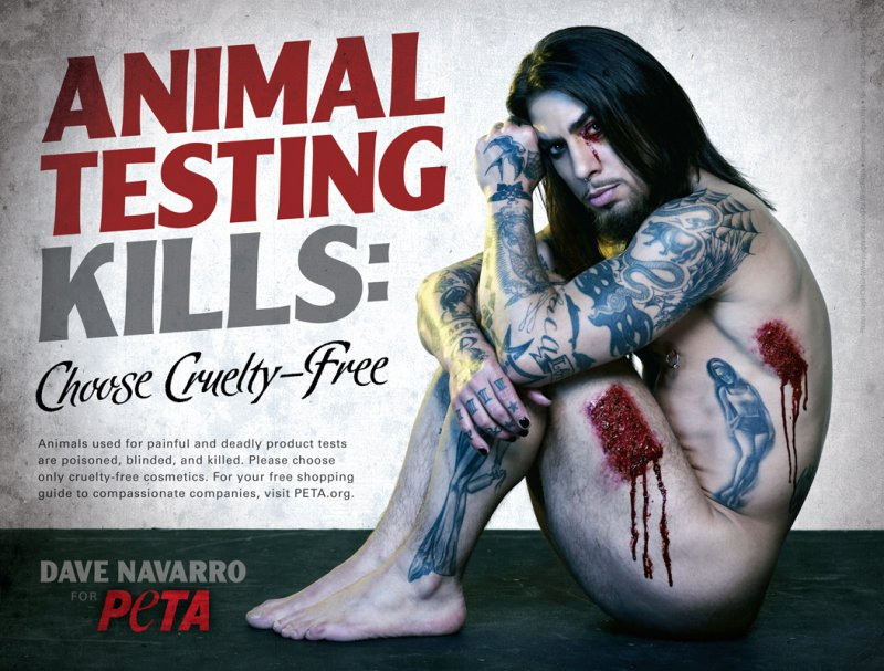 Dave Navarro -Animal Testing-15 Celebrities Who Have Stripped For Charity