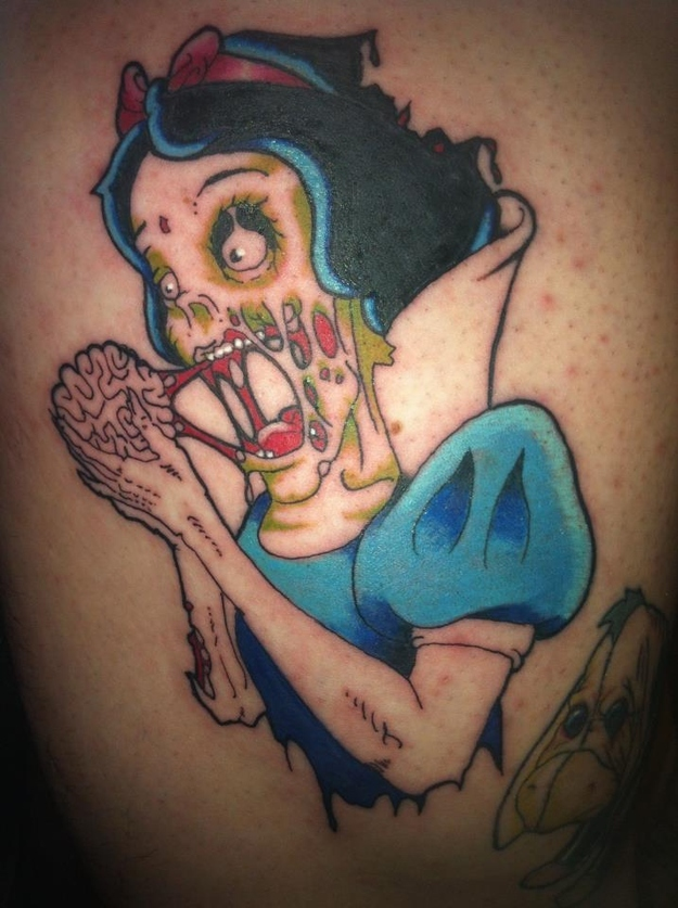 Zombie Snow White-15 Most Inappropriate Disney Tattoos Found On The Internet