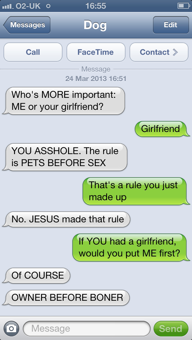 Owner before Boner, the Greatest Dog Quote Ever-15 Hilarious Dog Texts