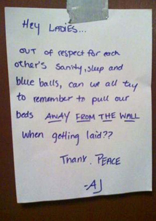 A Note for Ladies-15 Funniest Notes Ever Left For Neighbors Having Sex Very Loud
