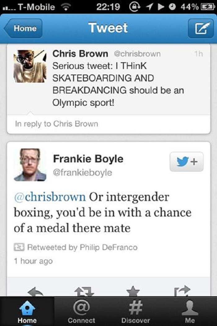 Chris Brown Vs. Frankie Boyle-15 Hilarious Twitter Comebacks Ever