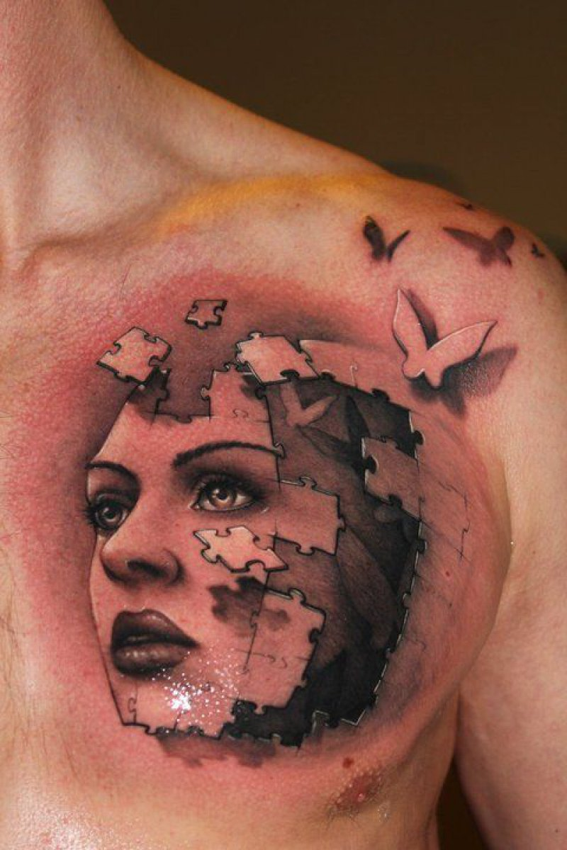 Puzzle Head-12 Amazing 3D Puzzle Tattoos Ever