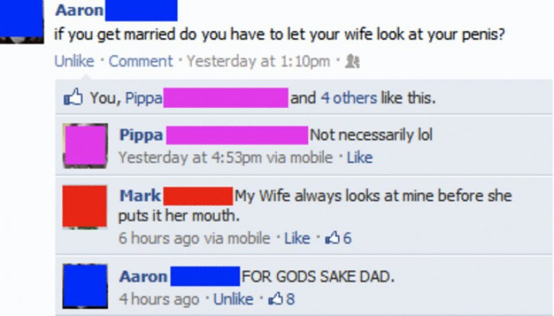 This Awkward Reply from a Dad-15 Most Embarrassing Dads On Facebook Ever