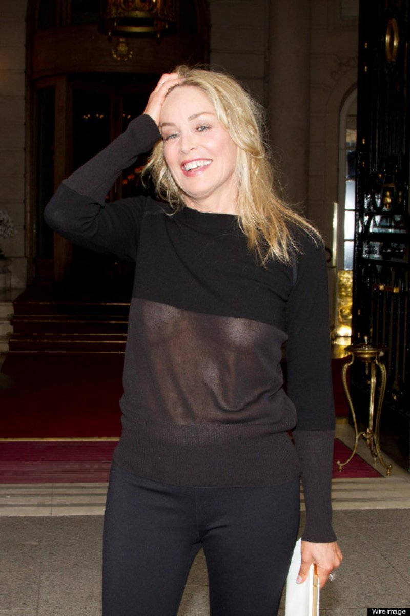 Sharon Stone-12 Celebrities Who Were Spotted Wearing See-Through Clothes