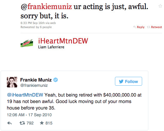 Frankie Muniz vs. Random Person-15 Hilarious Twitter Comebacks Ever