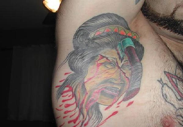 Too gory-Bizarre Armpit Tattoos