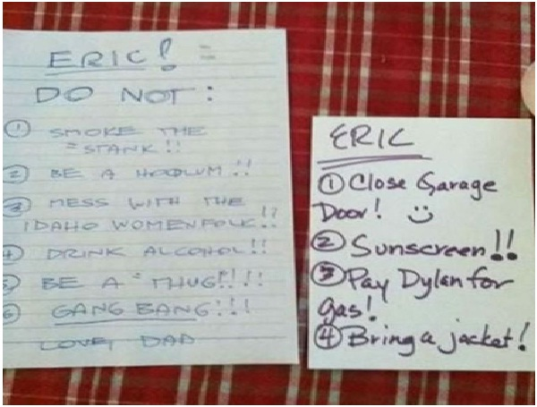 Dos and Don'ts Note-Absolutely Hilarious Parental Notes