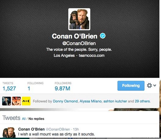 Conan O'Brien @ConanOBrien-12 Funny Twitter Accounts To Follow