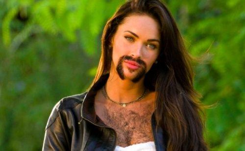 Megan Fox-24 Hilarious Female Celebrities With Beard Photos