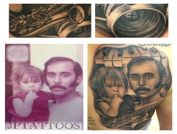 Father-Daughter Portrait-12 Best Father And Daughter Tattoos Ever