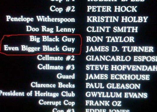 Big Black Guy. Even Bigger Black Guy-12 Funny Little Moments Found In Movie Credits