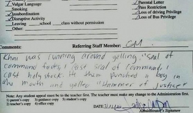 What on earth is going on?-12 Funniest Detention Slips Ever