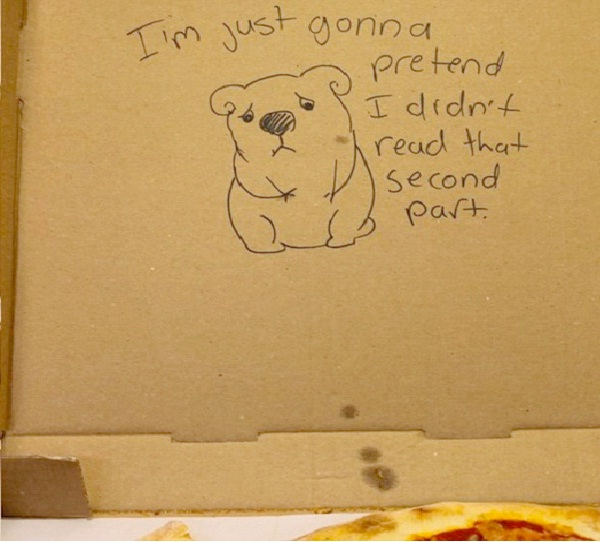 """Sad Bear-Funny """"Special Request"""" Pizza Box Drawings"""