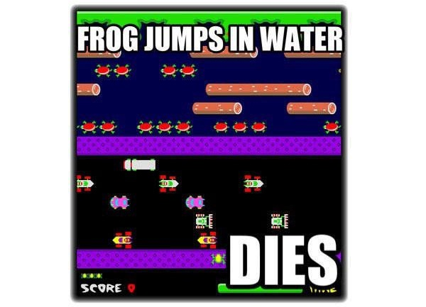 Water kills frog-Worst Video Game Logic