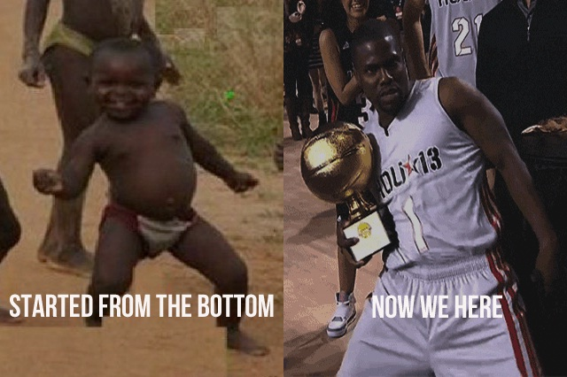 "My how he has grown-Funniest ""Started From The Bottom"" Memes"