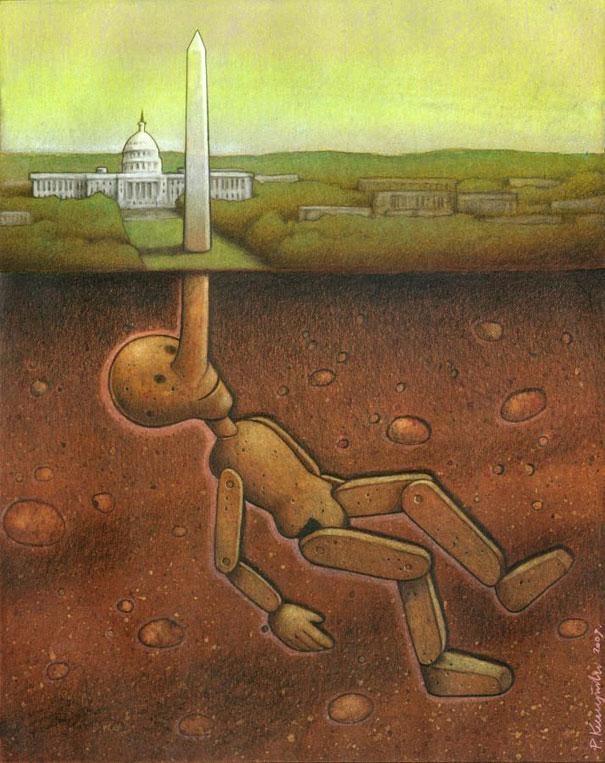 The Pinocchio Monument-Thought-Provoking Satirical Illustrations By Pawel Kuczynski