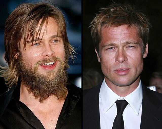 Brad Pitt-12 Images That Show A Beard Makes You Look Different