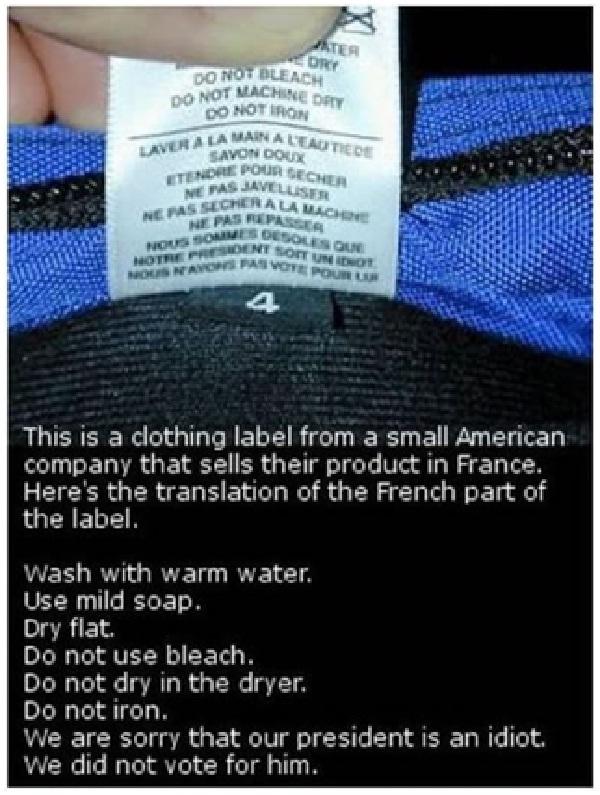 Political Beliefs on Clothing Label-Stupidest Warning Labels
