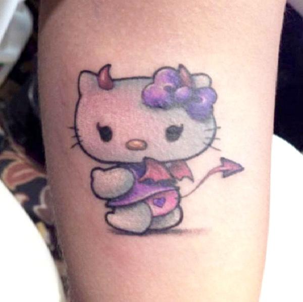 Devil Kitty-Craziest Hello Kitty Tattoos