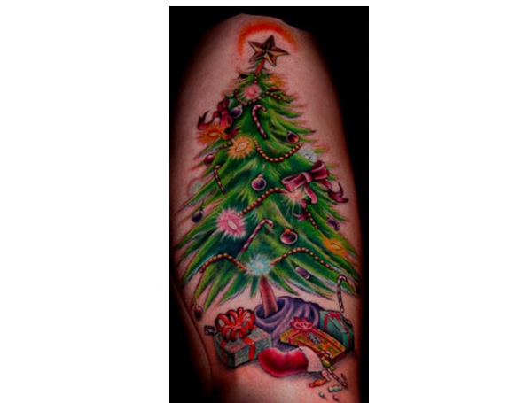 Lively Tree Tattoo-Craziest Christmas Tattoos