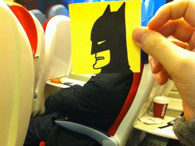 Batmobile Must Be In The Shop-Amazing Pics Of Train Passengers With Cartoon Heads By October Jones