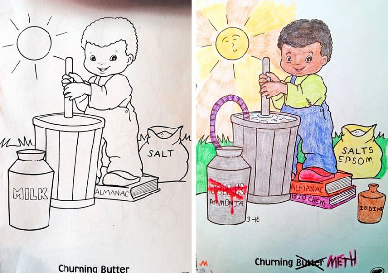 Churning Meth! -15 Drawings That Show Dads Should Stay Away From Children's Coloring Books