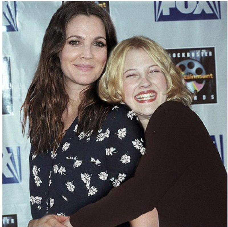 Drew Barrymore-15 Celebrities Posing With Younger Versions Of Themselves