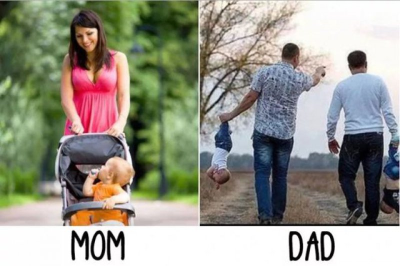 Taking Babies out - Mom vs. Dad-15 Hilarious Differences Between Mom And Dad