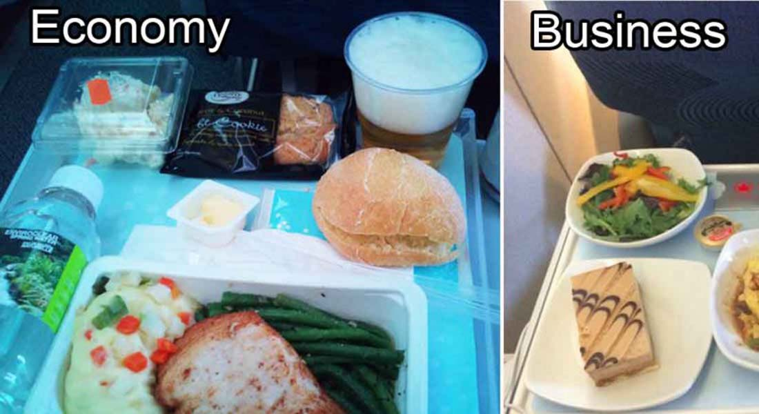 15 Airlines and The Food Served In The Economy vs. Business Class