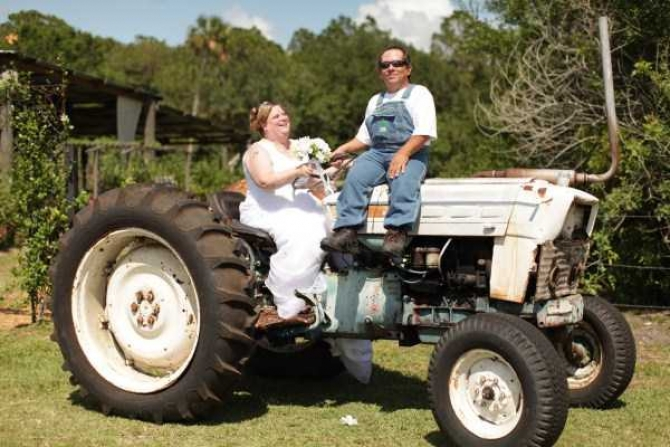 Guy On Tractor : Funny redneck marriage photos