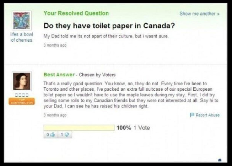Do They Have Toilet Paper in Canada?-15 Dumb Yahoo Questions That Will Make You Cringe