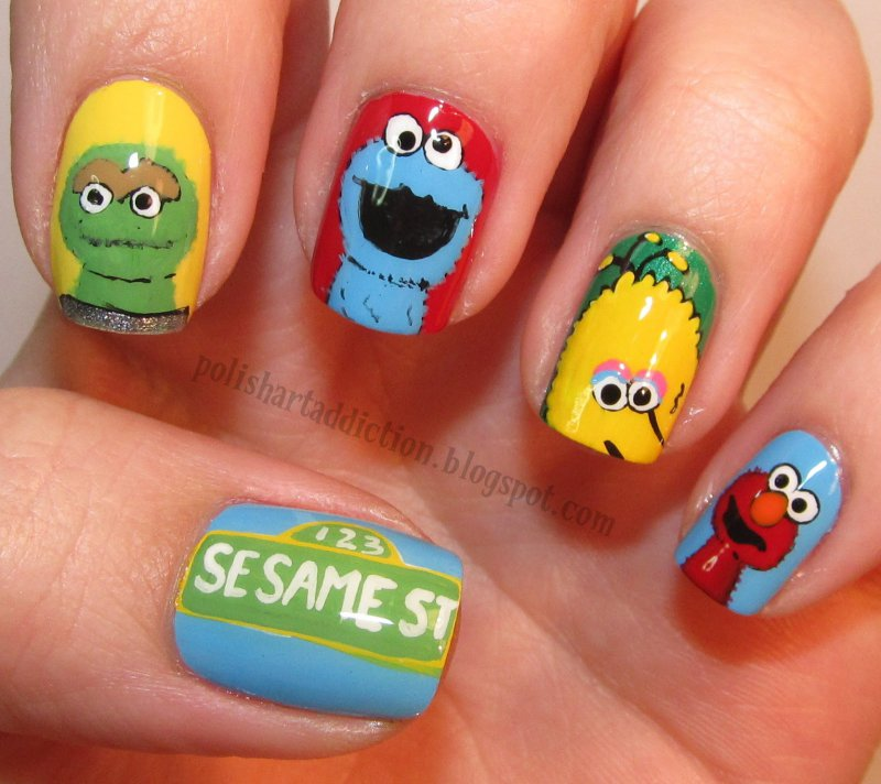 Sesame Street Nails-15 Amazing Nail Arts That You Must Try Once In Your Life