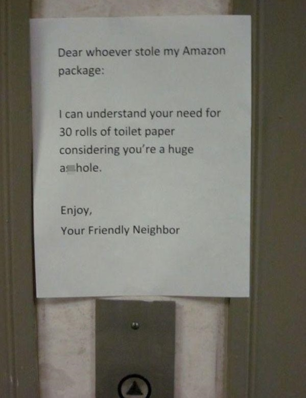 When Neighbors Steal Toilet Papers-15 Aggressive Notes Left For Stupid Neighbors