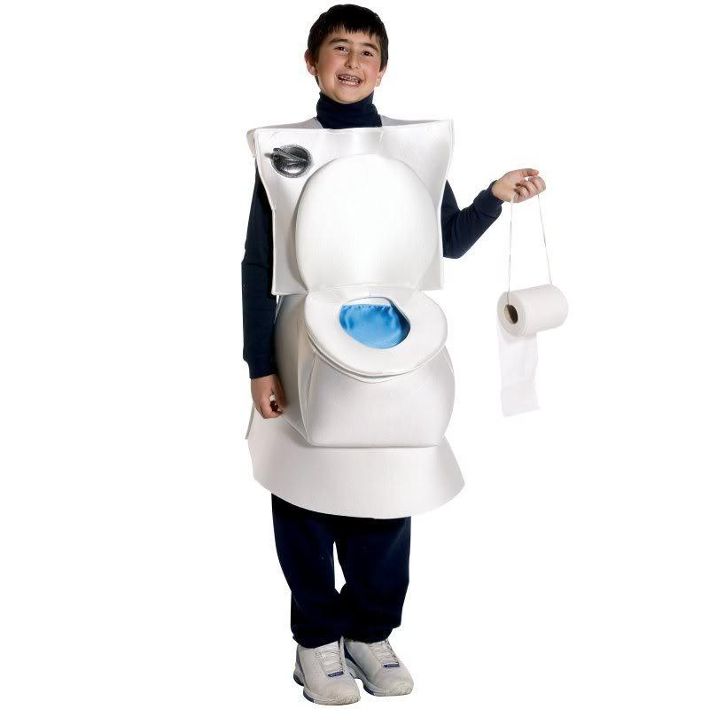 This Happy Kid and His Toilet Costume-15 Disgusting Kids Halloween Costumes Ever