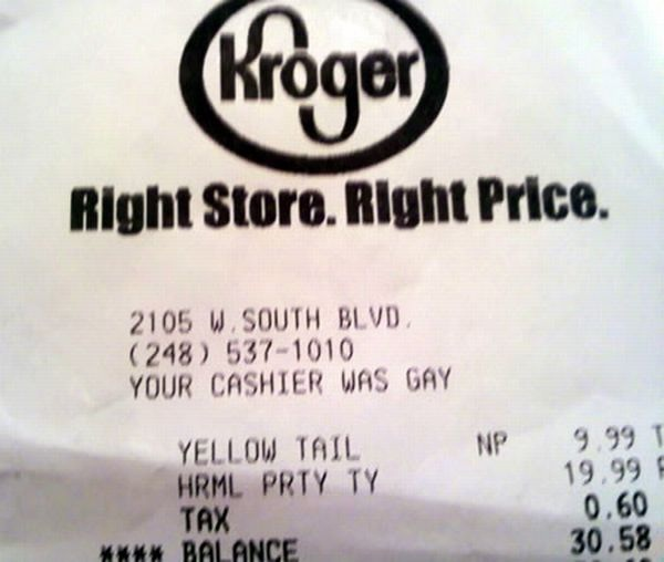 A bit personal-Funniest Receipts Of All Time