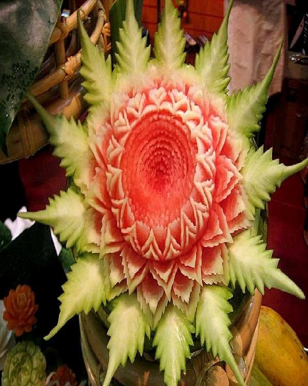 Intricate Flower-Amazing Watermelon Art