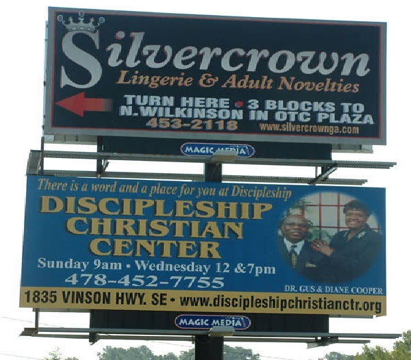 A lingerie wearing Christian-Unexpectedly Hijacked Billboards