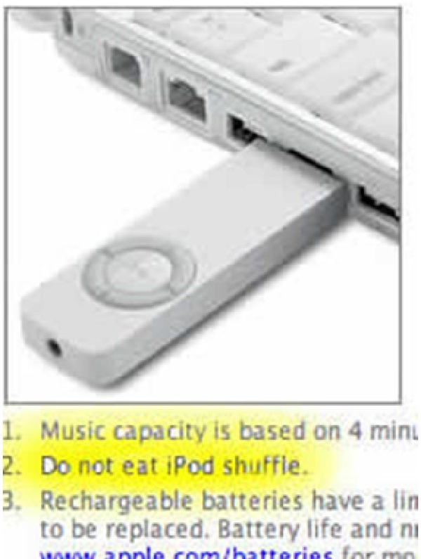No Eating You iPod-Stupidest Warning Labels
