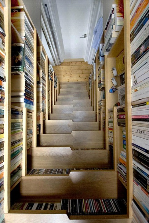 Bookcase Stairs-Awesome Home Interior Designs Ever