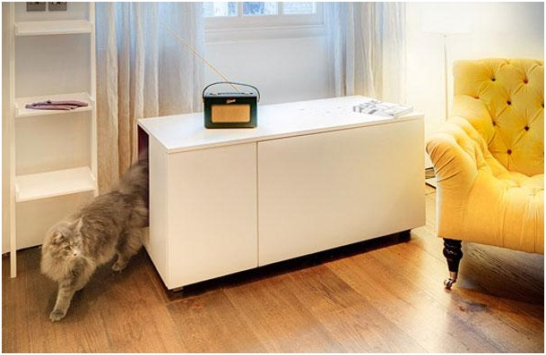 Private Cat Bathroom-Pet Friendly Furniture Ideas