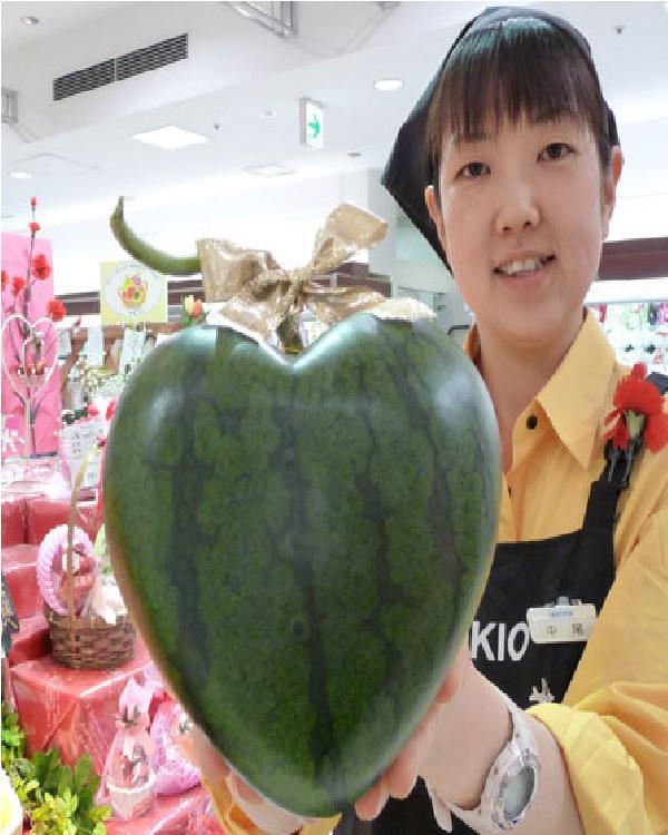 Heart Watermelon-Top 15 Weirdest Shaped Fruits/vegetables