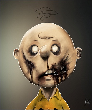 Charlie Brown-Zombified Faces Of Famous Cartoons