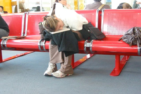 Airport-Funny Ways People Found Sleeping