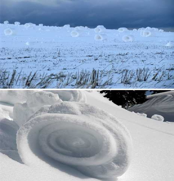 Snow rollers-Most Fascinating Natural Phenomena
