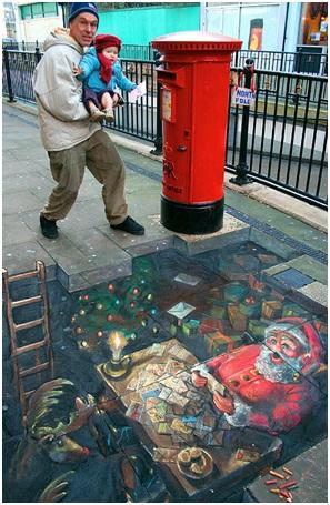 Santa At Work-Amazing 3D Street Art